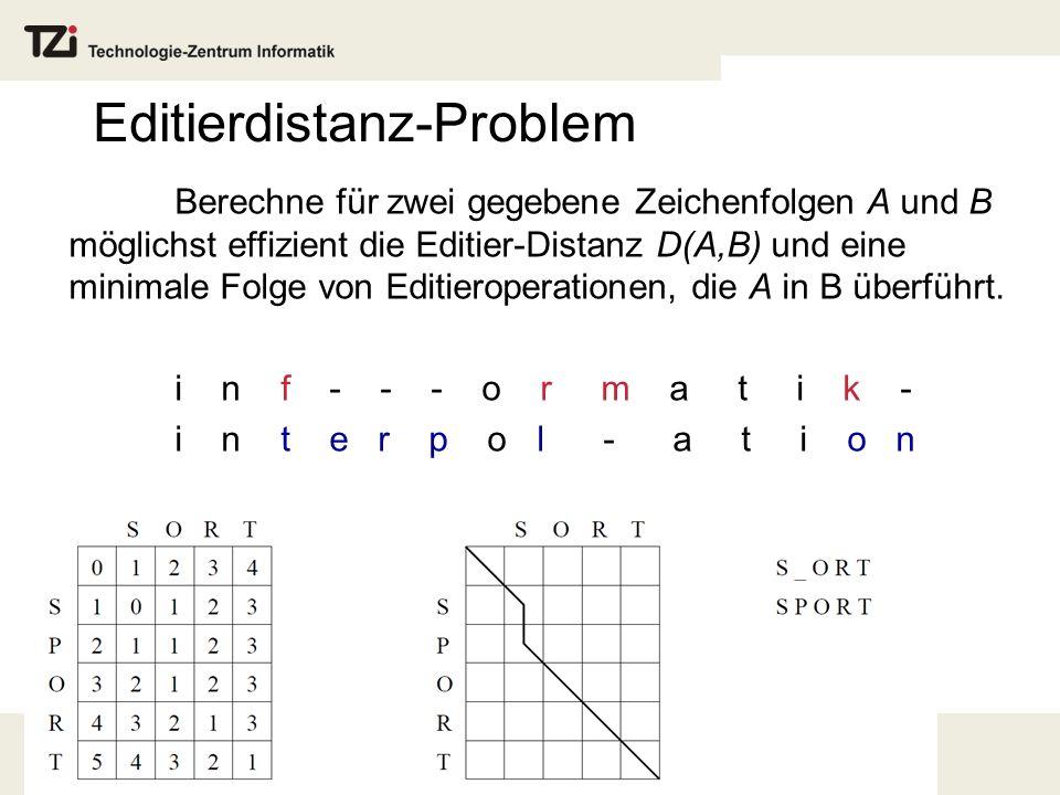 Editierdistanz-Problem Berechne für zwei gegebene Zeichenfolgen A und B möglichst effizient die Editier-Distanz D(A,B) und eine minimale Folge von Editieroperationen, die A in B überführt.
