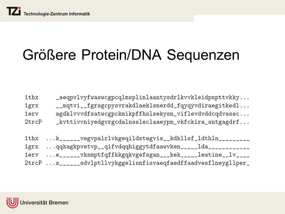 Größere Protein/DNA Sequenzen
