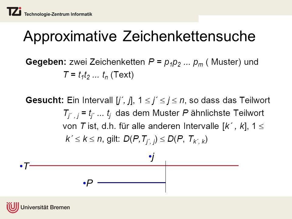 Approximative Zeichenkettensuche Gegeben: zwei Zeichenketten P = p 1 p 2...