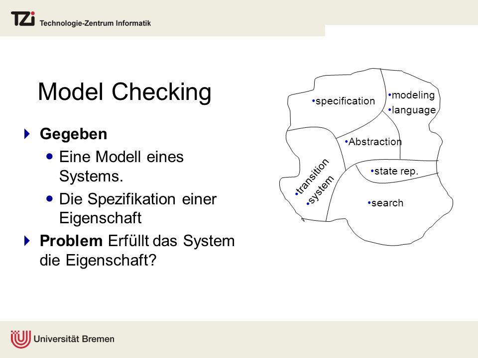 Objectcode Beispiel: Prüfen eines C++ Programms igcc Compiler Model checker Virtual Machine char globalChar; int globalBlocksize = 7; int main(){ allocateBlock(blocksize); } void allocateBlock(int size){ void *memBlock; memBlock = (void *) malloc(size); }