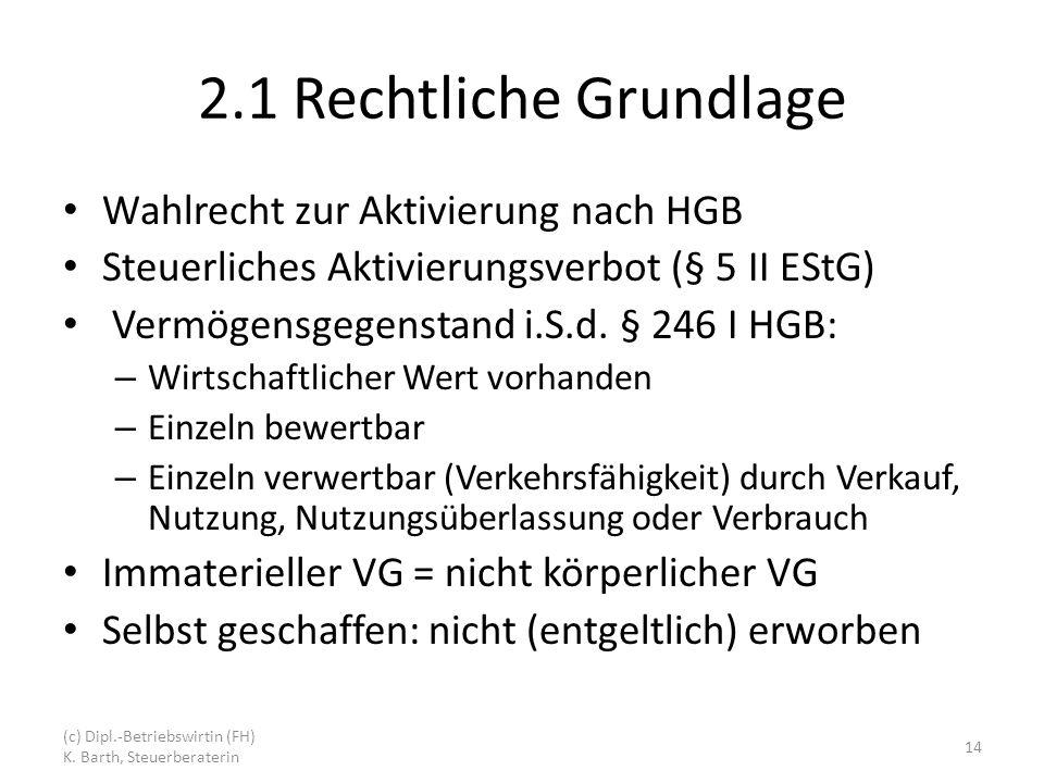 2.1 Rechtliche Grundlage Wahlrecht zur Aktivierung nach HGB Steuerliches Aktivierungsverbot (§ 5 II EStG) Vermögensgegenstand i.S.d.
