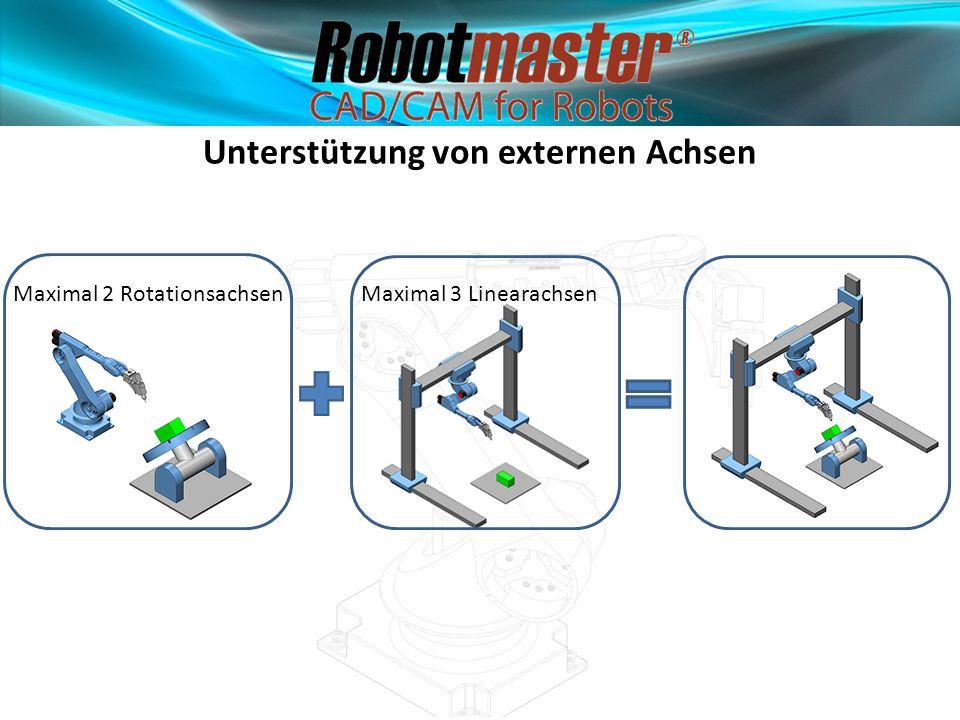 Unterstützung von externen Achsen Maximal 2 RotationsachsenMaximal 3 Linearachsen