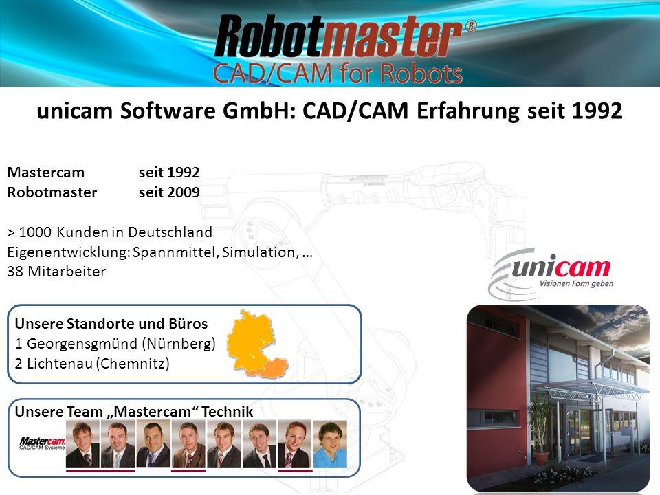 unicam Software GmbH: CAD/CAM Erfahrung seit 1992 Mastercam seit 1992 Robotmaster seit 2009 > 1000 Kunden in Deutschland Eigenentwicklung: Spannmittel