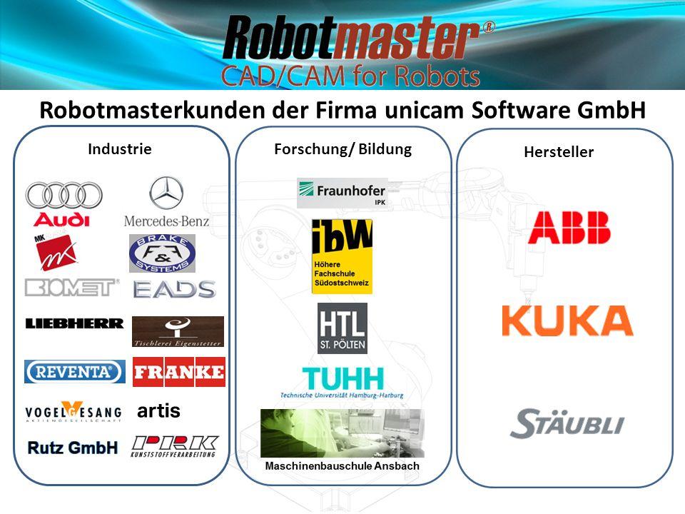 Industrie Robotmasterkunden der Firma unicam Software GmbH Forschung/ Bildung Hersteller