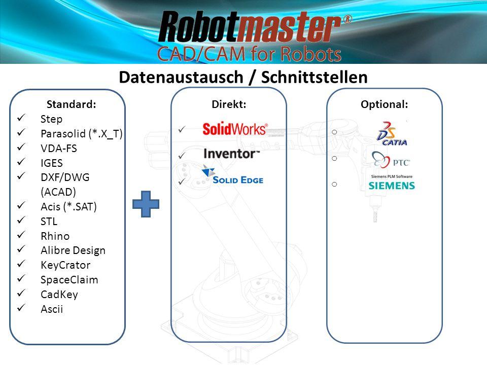 Standard: Step Parasolid (*.X_T) VDA-FS IGES DXF/DWG (ACAD) Acis (*.SAT) STL Rhino Alibre Design KeyCrator SpaceClaim CadKey Ascii Datenaustausch / Sc