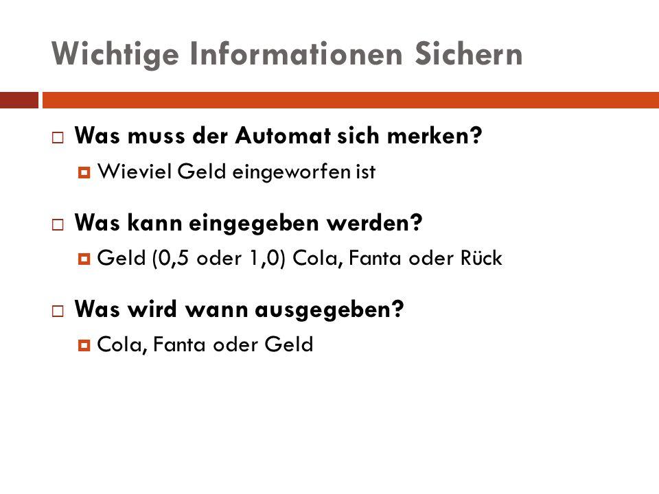 Wichtige Informationen Sichern Was muss der Automat sich merken? Wieviel Geld eingeworfen ist Was kann eingegeben werden? Geld (0,5 oder 1,0) Cola, Fa