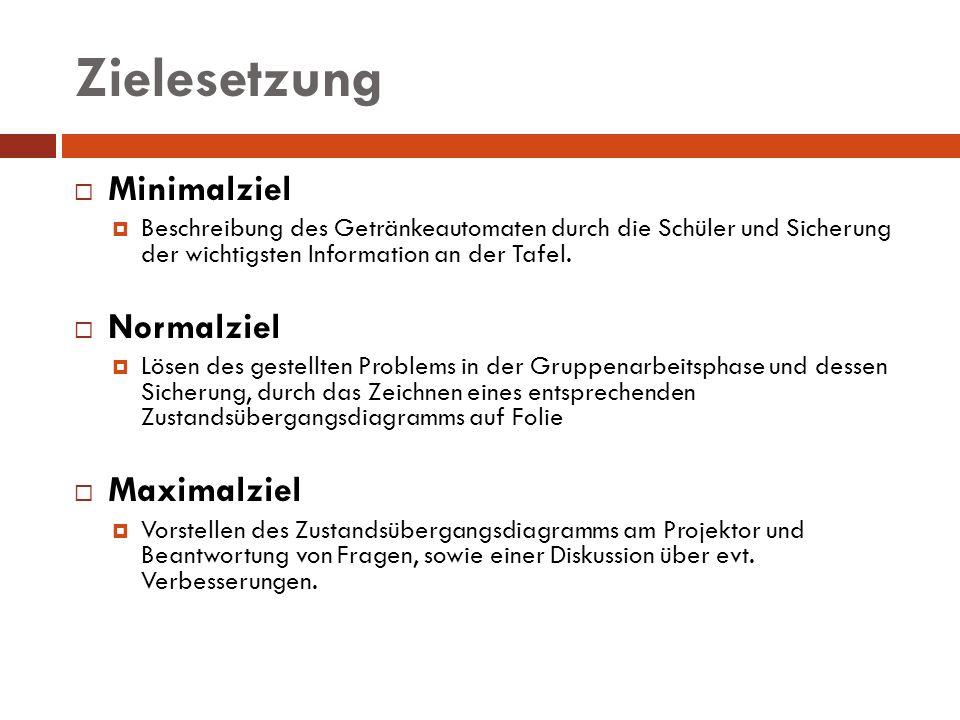 Zielesetzung Minimalziel Beschreibung des Getränkeautomaten durch die Schüler und Sicherung der wichtigsten Information an der Tafel. Normalziel Lösen