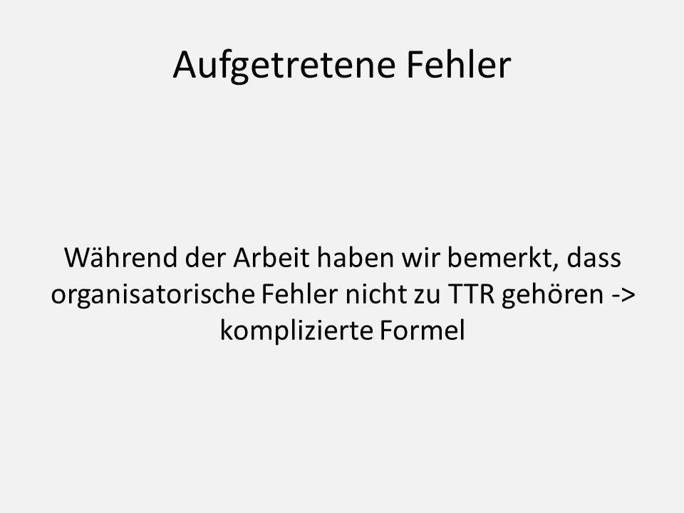 Aufgetretene Fehler Während der Arbeit haben wir bemerkt, dass organisatorische Fehler nicht zu TTR gehören -> komplizierte Formel