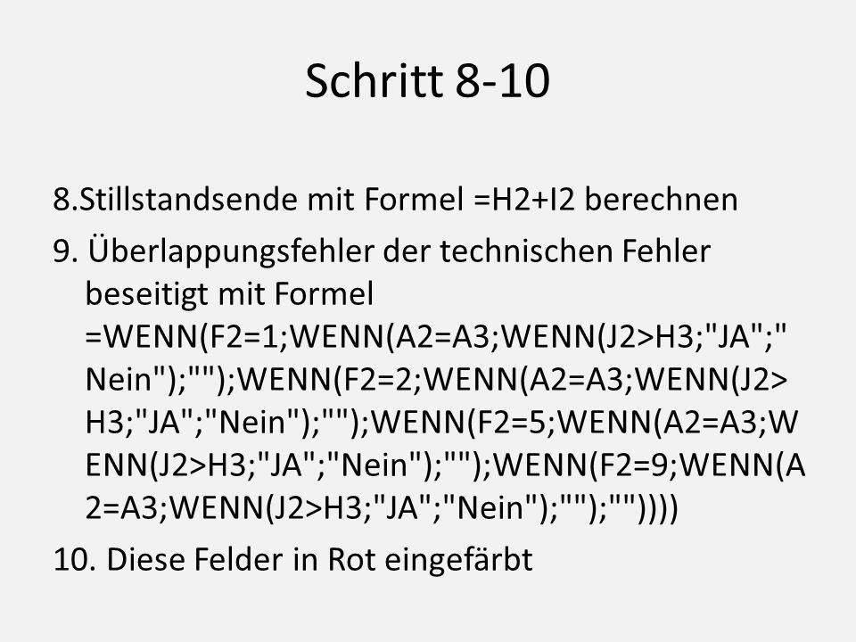 Schritt 8-10 8.Stillstandsende mit Formel =H2+I2 berechnen 9.