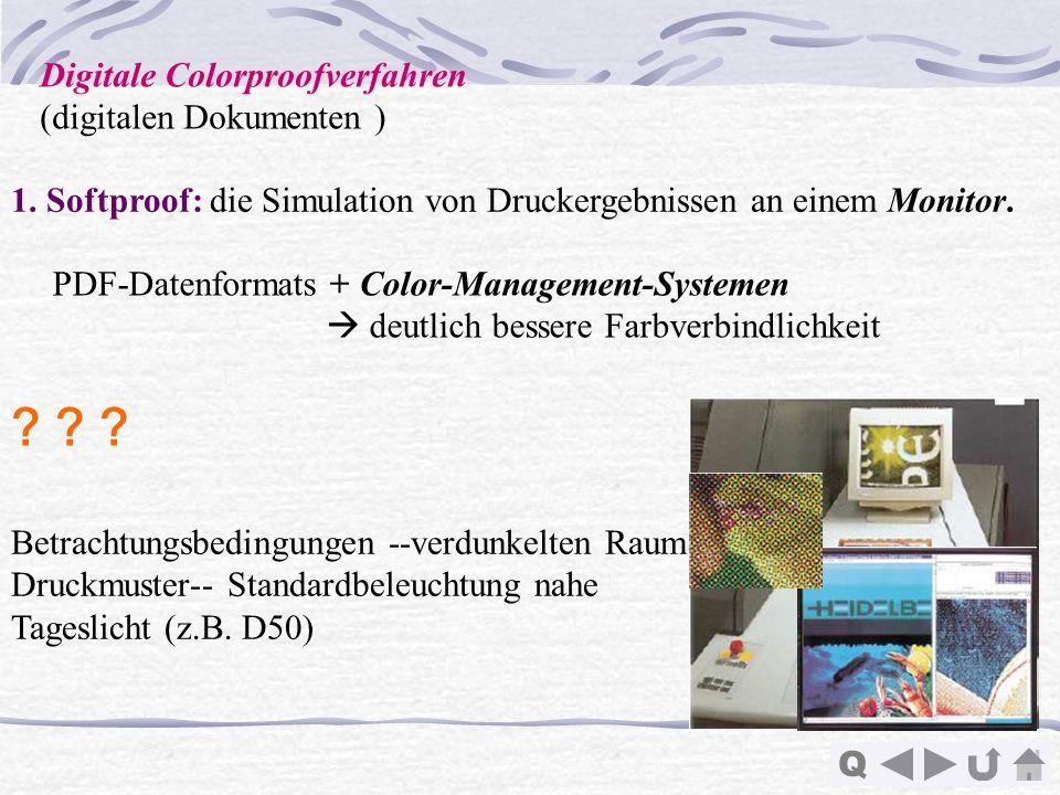 Q 1. Softproof: die Simulation von Druckergebnissen an einem Monitor. Betrachtungsbedingungen --verdunkelten Raum Druckmuster-- Standardbeleuchtung na