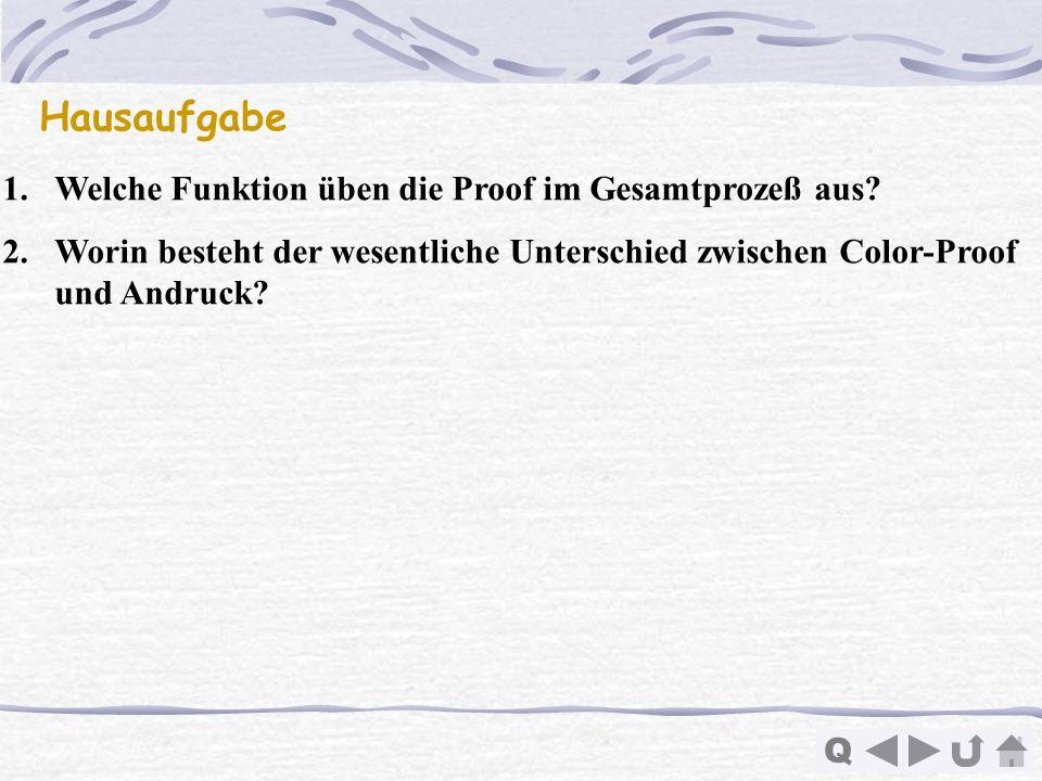 Q Hausaufgabe 1.Welche Funktion üben die Proof im Gesamtprozeß aus? 2.Worin besteht der wesentliche Unterschied zwischen Color-Proof und Andruck?