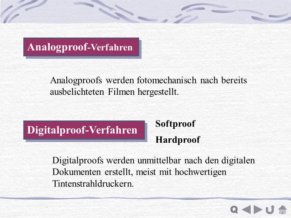 Q Analogproof -Verfahren Analogproof -Verfahren Digitalproof-Verfahren Analogproofs werden fotomechanisch nach bereits ausbelichteten Filmen hergestel