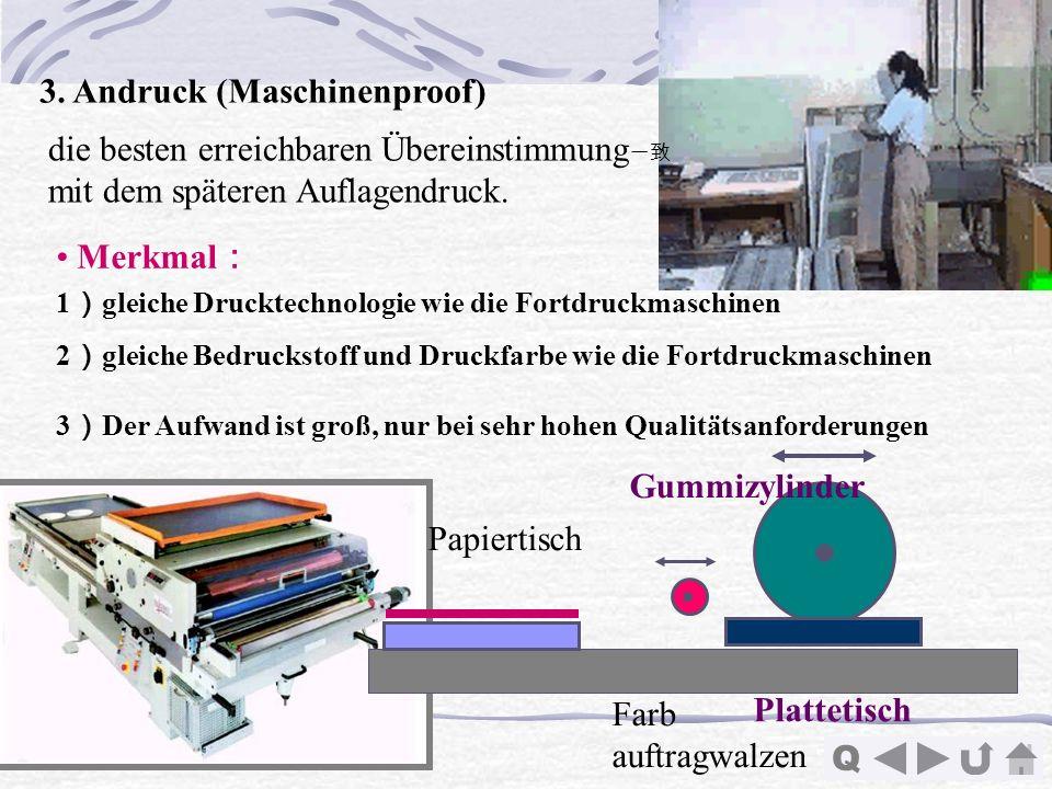 Q Papiertisch Gummizylinder Plattetisch Farb auftragwalzen 3. Andruck (Maschinenproof) Merkmal 1 gleiche Drucktechnologie wie die Fortdruckmaschinen 2