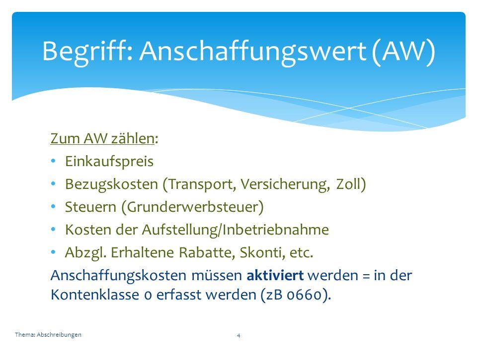 Zum AW zählen: Einkaufspreis Bezugskosten (Transport, Versicherung, Zoll) Steuern (Grunderwerbsteuer) Kosten der Aufstellung/Inbetriebnahme Abzgl.