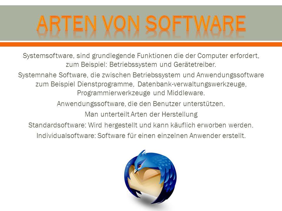 Systemsoftware, sind grundlegende Funktionen die der Computer erfordert, zum Beispiel: Betriebssystem und Gerätetreiber. Systemnahe Software, die zwis