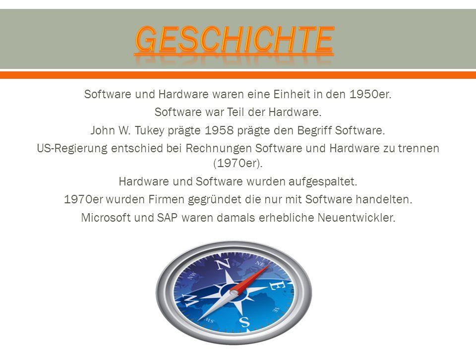 Software und Hardware waren eine Einheit in den 1950er. Software war Teil der Hardware. John W. Tukey prägte 1958 prägte den Begriff Software. US-Regi