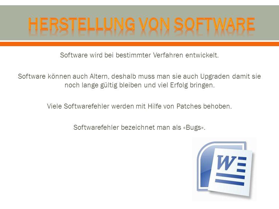 Software wird bei bestimmter Verfahren entwickelt. Software können auch Altern, deshalb muss man sie auch Upgraden damit sie noch lange gültig bleiben