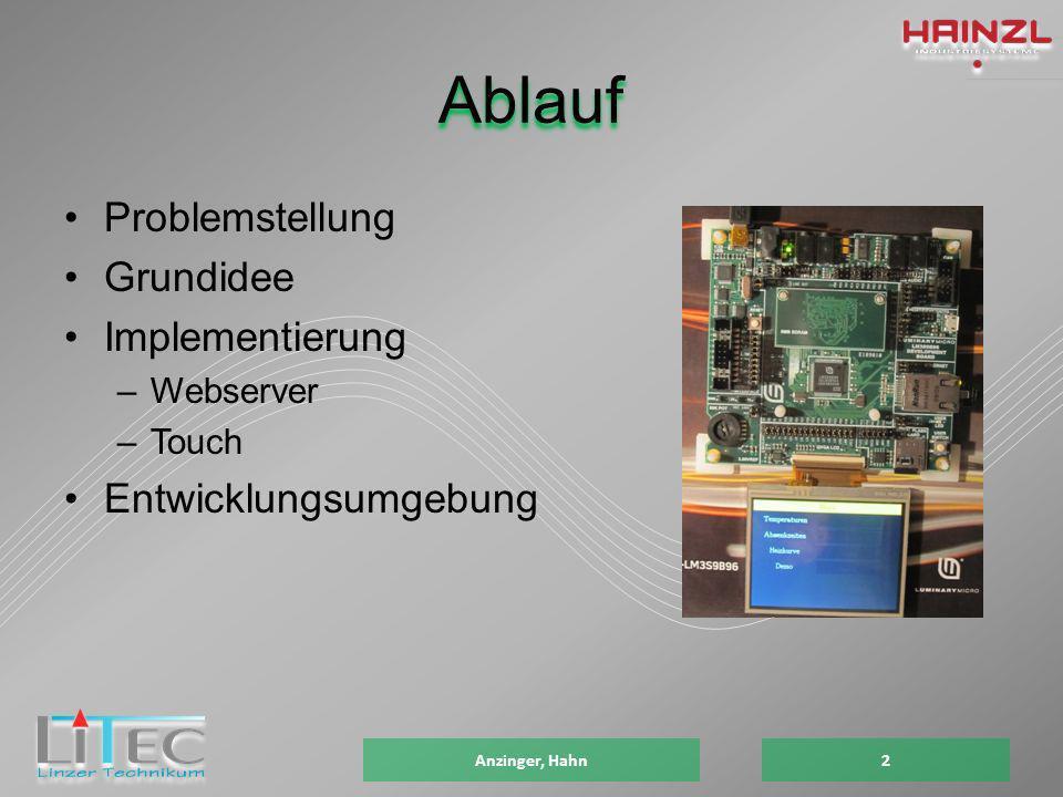Ablauf Problemstellung Grundidee Implementierung –Webserver –Touch Entwicklungsumgebung 2Anzinger, Hahn