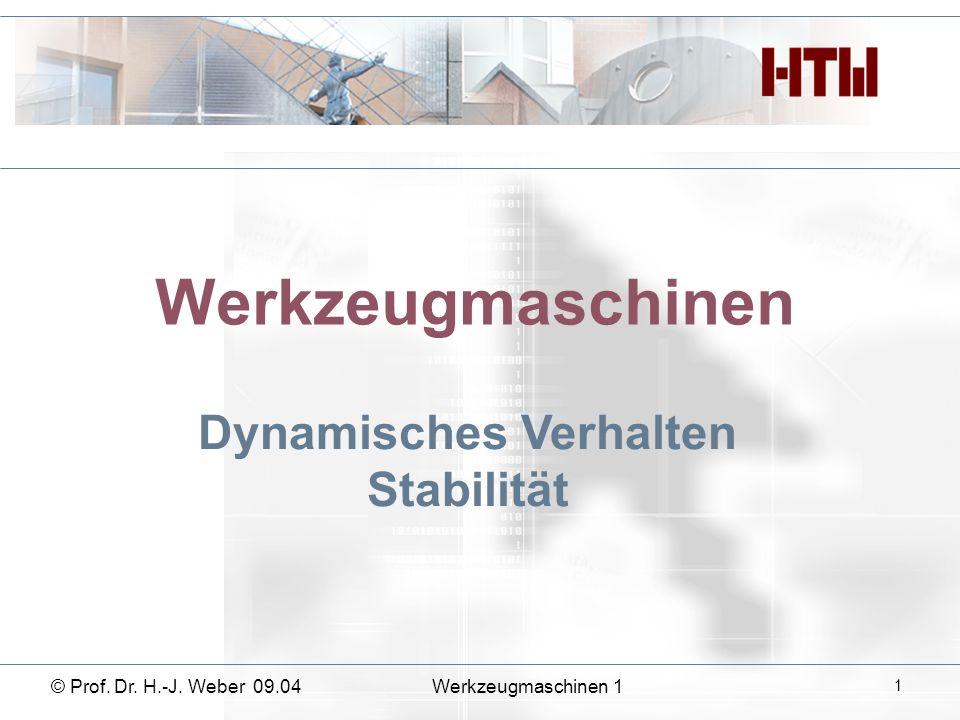 Werkzeugmaschinen Dynamisches Verhalten Stabilität © Prof. Dr. H.-J. Weber 09.04Werkzeugmaschinen 1 1