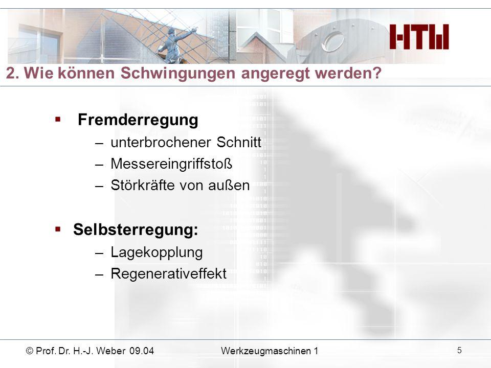 3. Wie entsteht das regenerative Rattern? © Prof. Dr. H.-J. Weber 09.04 Werkzeugmaschinen 1 6