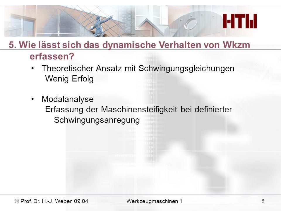 © Prof. Dr. H.-J. Weber 09.04 Werkzeugmaschinen 1 9