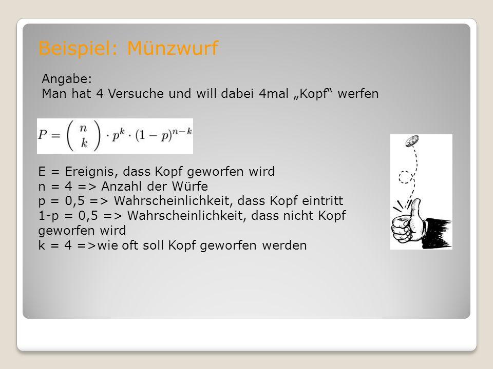Beispiel: Münzwurf Angabe: Man hat 4 Versuche und will dabei 4mal Kopf werfen E = Ereignis, dass Kopf geworfen wird n = 4 => Anzahl der Würfe p = 0,5