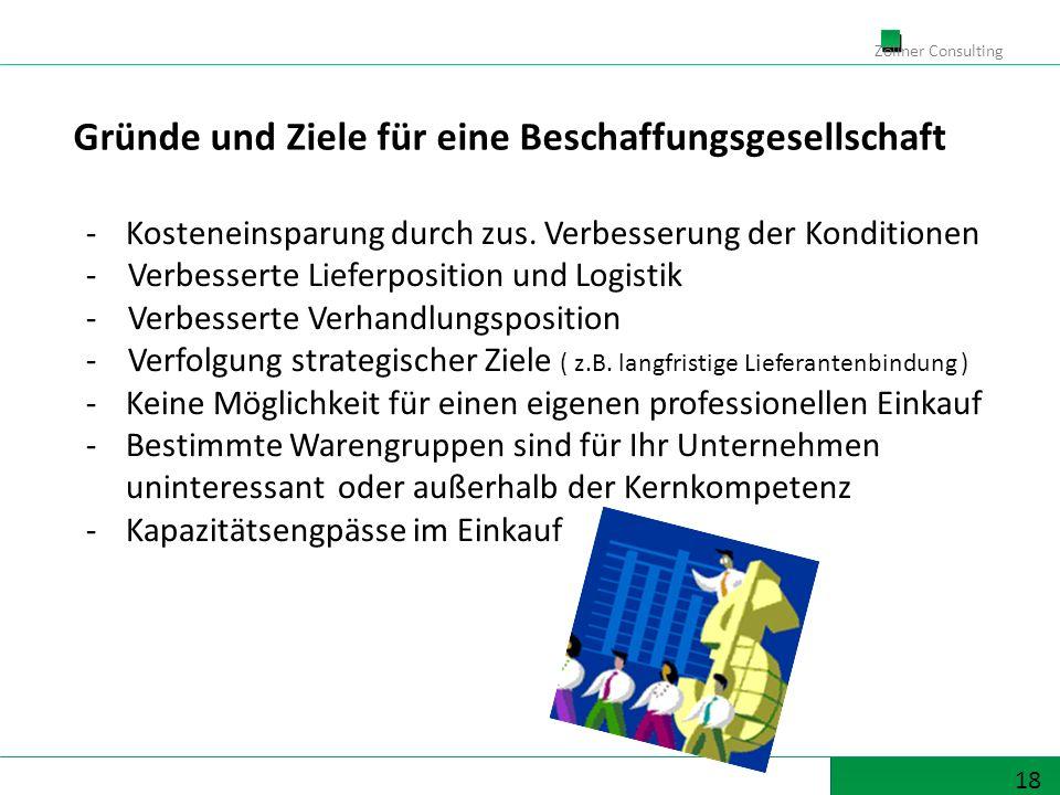 18 Zöllner Consulting -Kosteneinsparung durch zus. Verbesserung der Konditionen - Verbesserte Lieferposition und Logistik - Verbesserte Verhandlungspo