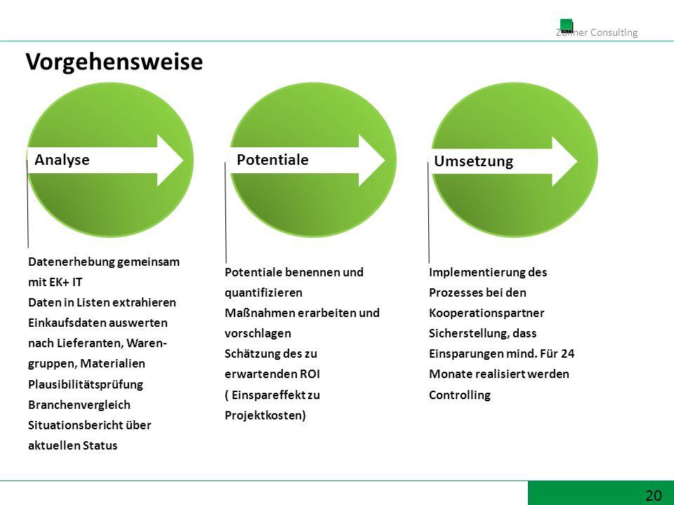 20 Zöllner Consulting Vorgehensweise Datenerhebung gemeinsam mit EK+ IT Daten in Listen extrahieren Einkaufsdaten auswerten nach Lieferanten, Waren- g
