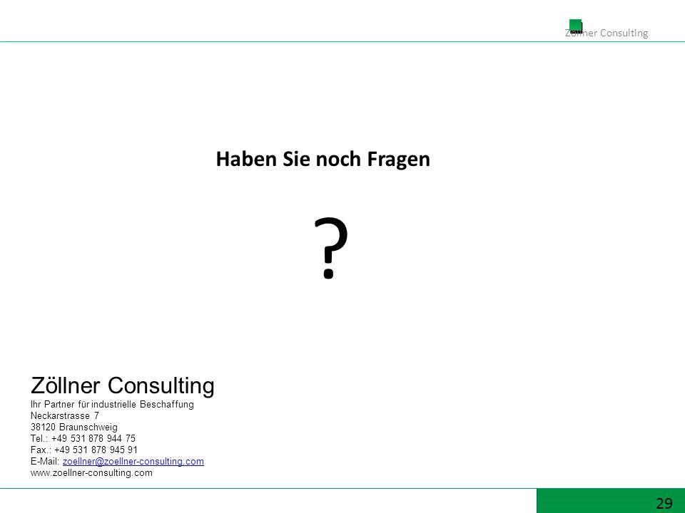 29 Zöllner Consulting Ihr Partner für industrielle Beschaffung Neckarstrasse 7 38120 Braunschweig Tel.: +49 531 878 944 75 Fax.: +49 531 878 945 91 E-