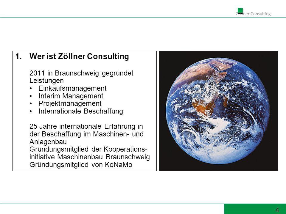 4 Zöllner Consulting 1.Wer ist Zöllner Consulting 2011 in Braunschweig gegründet Leistungen Einkaufsmanagement Interim Management Projektmanagement In
