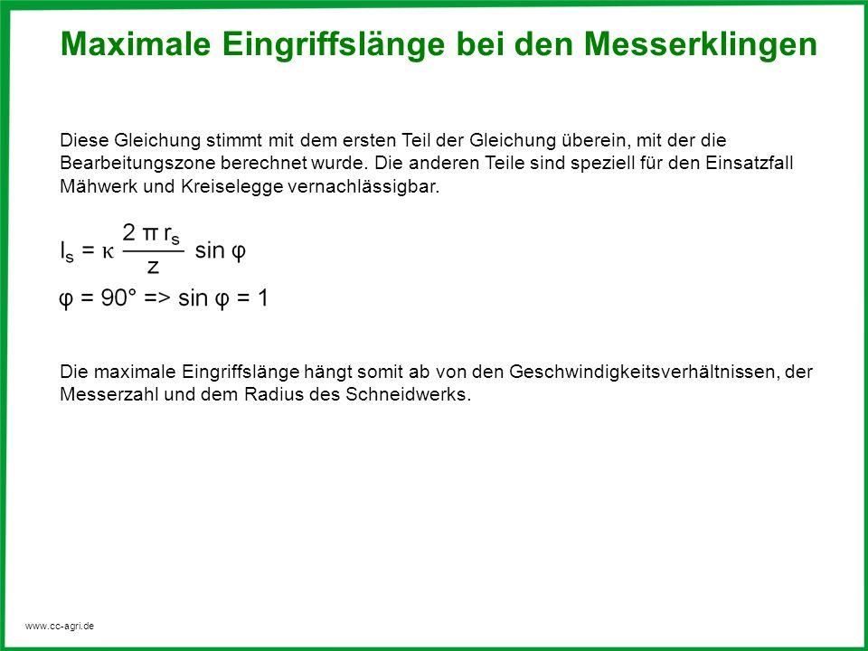 www.cc-agri.de Diese Gleichung stimmt mit dem ersten Teil der Gleichung überein, mit der die Bearbeitungszone berechnet wurde. Die anderen Teile sind