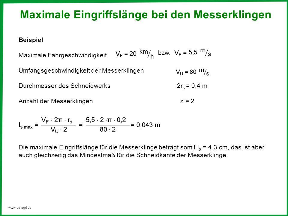 www.cc-agri.de Beispiel Maximale Fahrgeschwindigkeit Umfangsgeschwindigkeit der Messerklingen Durchmesser des Schneidwerks 2r s = 0,4 m Anzahl der Mes