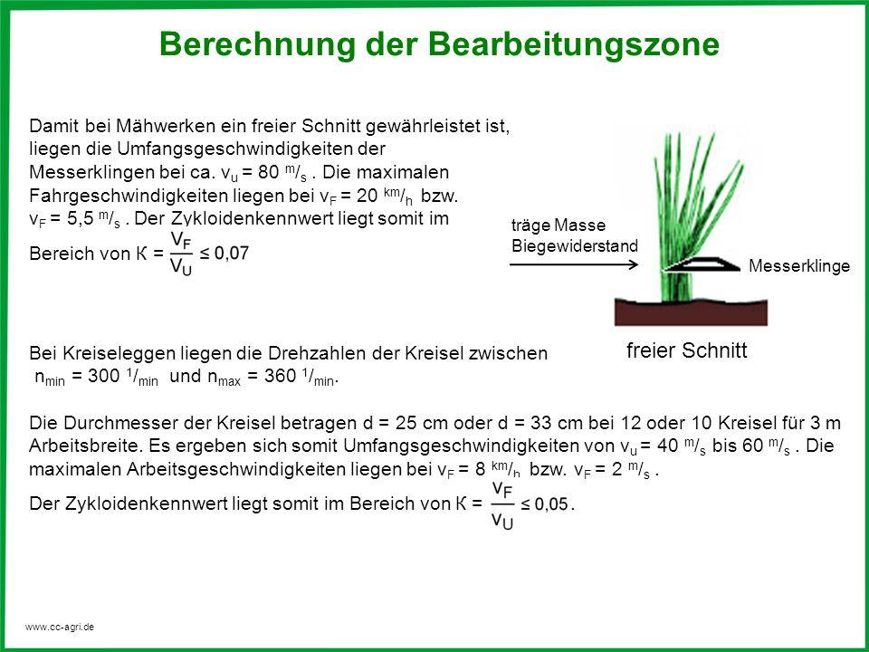 www.cc-agri.de Bei Kreiseleggen liegen die Drehzahlen der Kreisel zwischen n min = 300 1 / min und n max = 360 1 / min. Die Durchmesser der Kreisel be