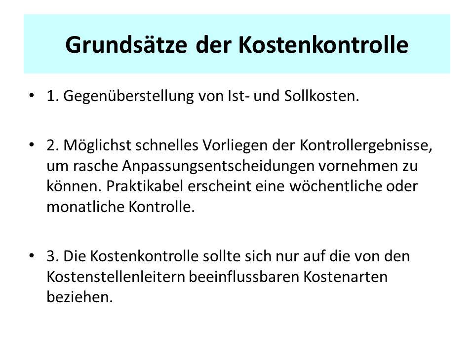 Grundsätze der Kostenkontrolle 1.Gegenüberstellung von Ist- und Sollkosten.