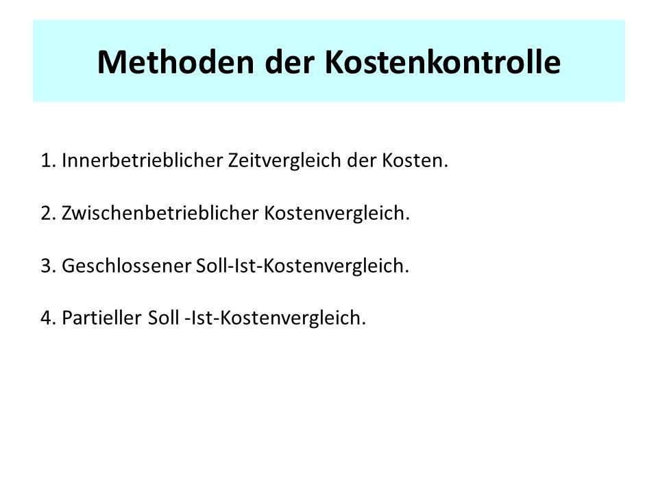 Methoden der Kostenkontrolle 1.Innerbetrieblicher Zeitvergleich der Kosten.