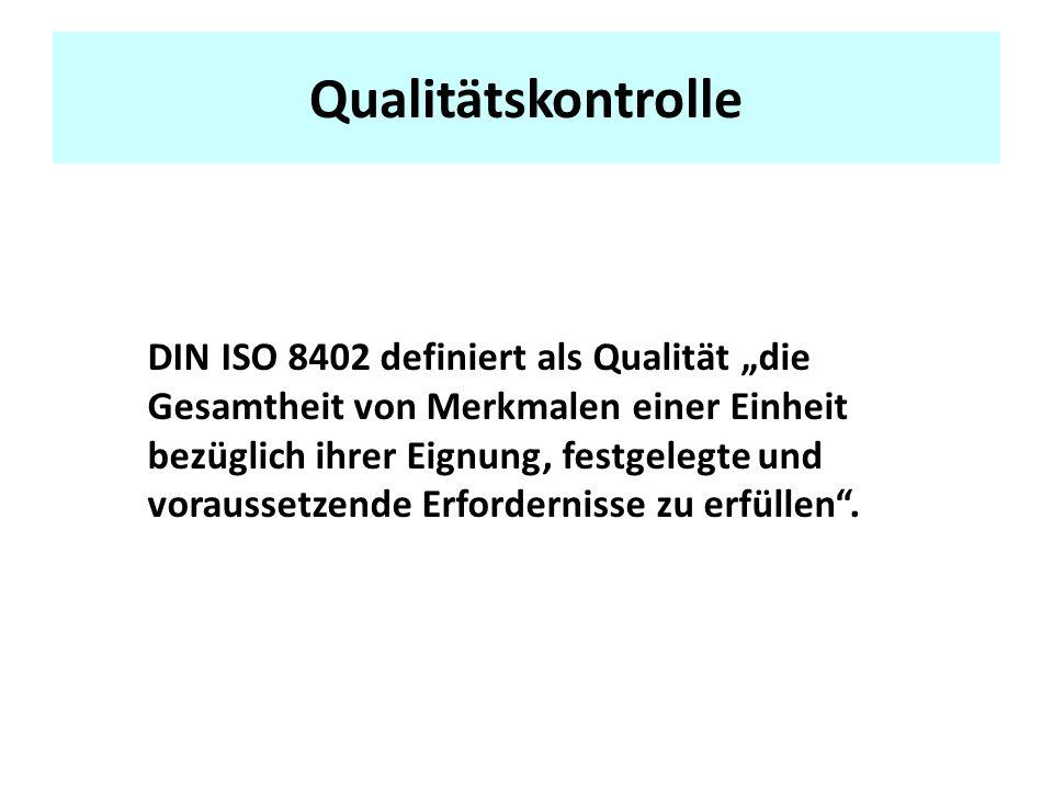 Qualitätskontrolle DIN ISO 8402 definiert als Qualität die Gesamtheit von Merkmalen einer Einheit bezüglich ihrer Eignung, festgelegte und voraussetzende Erfordernisse zu erfüllen.
