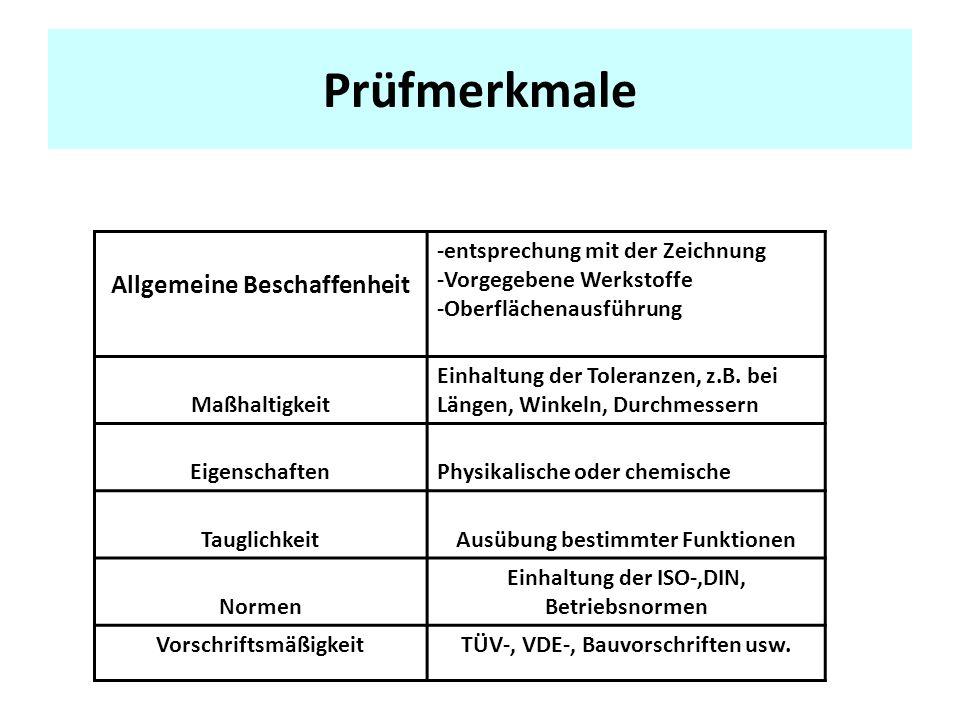 Prüfmerkmale Allgemeine Beschaffenheit -entsprechung mit der Zeichnung -Vorgegebene Werkstoffe -Oberflächenausführung Maßhaltigkeit Einhaltung der Toleranzen, z.B.
