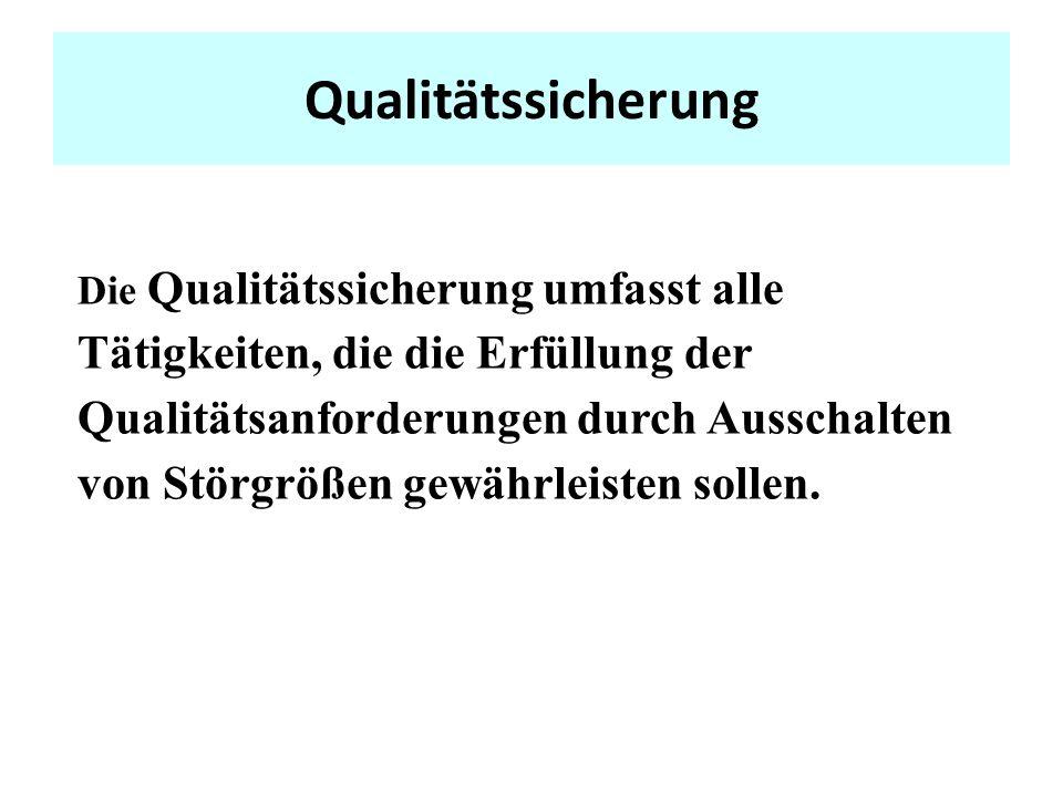 Qualitätssicherung Die Qualitätssicherung umfasst alle Tätigkeiten, die die Erfüllung der Qualitätsanforderungen durch Ausschalten von Störgrößen gewährleisten sollen.