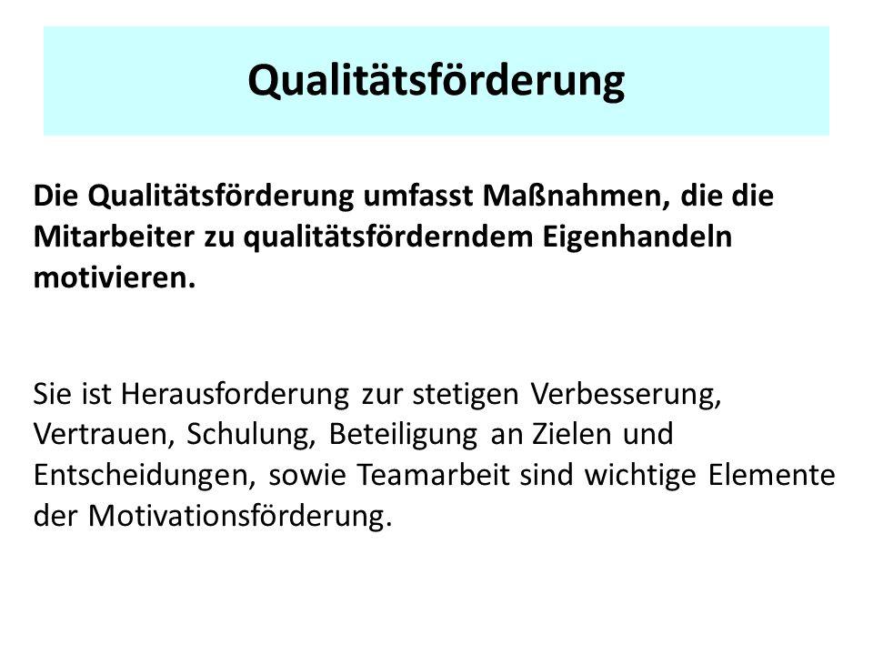 Qualitätsförderung Die Qualitätsförderung umfasst Maßnahmen, die die Mitarbeiter zu qualitätsförderndem Eigenhandeln motivieren.