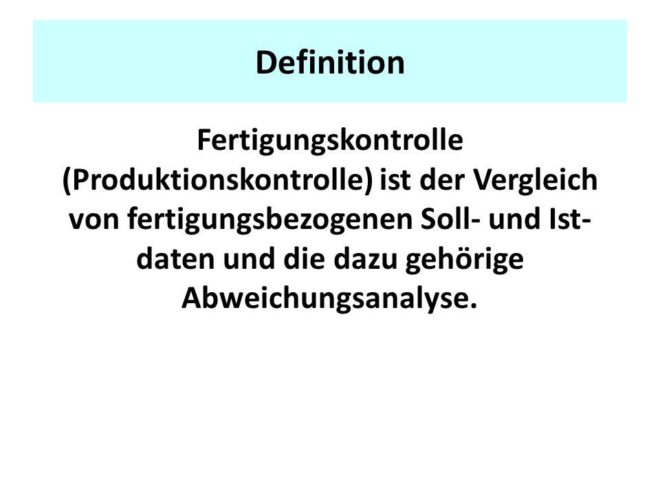 Definition Fertigungskontrolle (Produktionskontrolle) ist der Vergleich von fertigungsbezogenen Soll- und Ist- daten und die dazu gehörige Abweichungsanalyse.