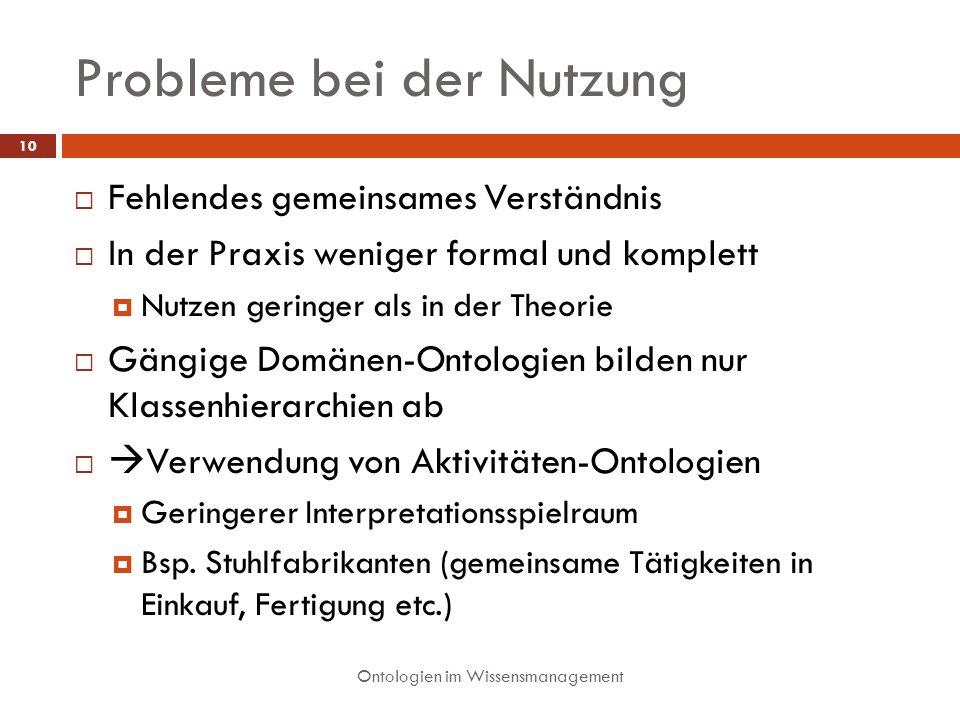 Probleme bei der Nutzung Ontologien im Wissensmanagement 10 Fehlendes gemeinsames Verständnis In der Praxis weniger formal und komplett Nutzen geringe