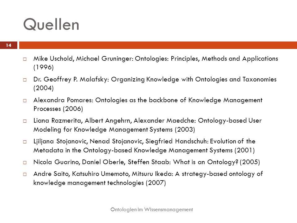 Quellen Ontologien im Wissensmanagement 14 Mike Uschold, Michael Gruninger: Ontologies: Principles, Methods and Applications (1996) Dr.