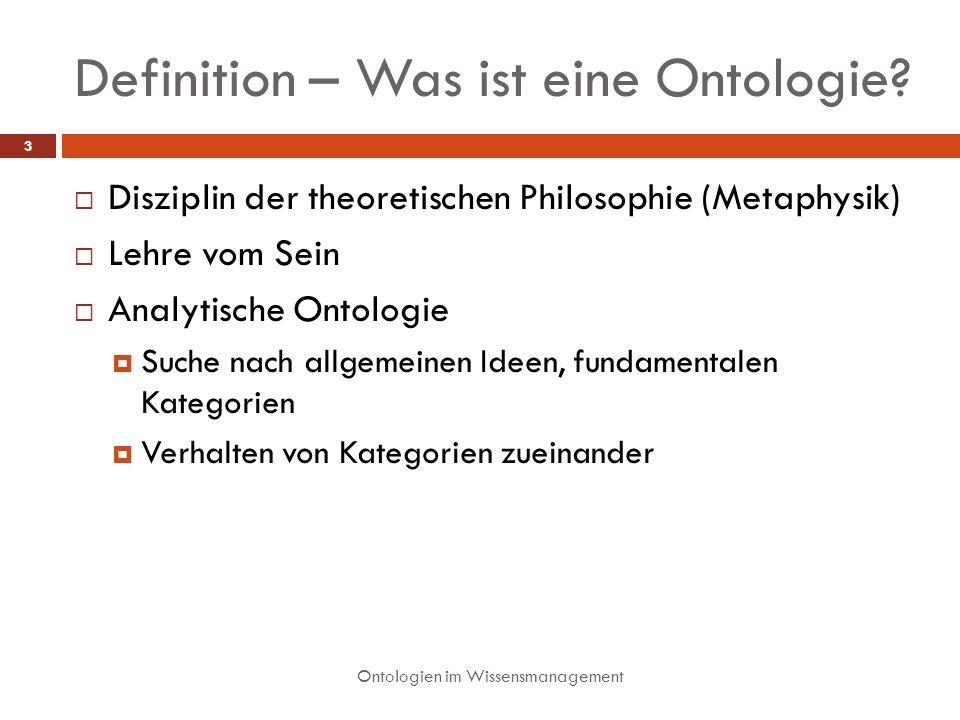 Definition – Was ist eine Ontologie? Ontologien im Wissensmanagement 3 Disziplin der theoretischen Philosophie (Metaphysik) Lehre vom Sein Analytische