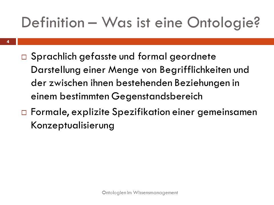 Definition – Was ist eine Ontologie? Sprachlich gefasste und formal geordnete Darstellung einer Menge von Begrifflichkeiten und der zwischen ihnen bes