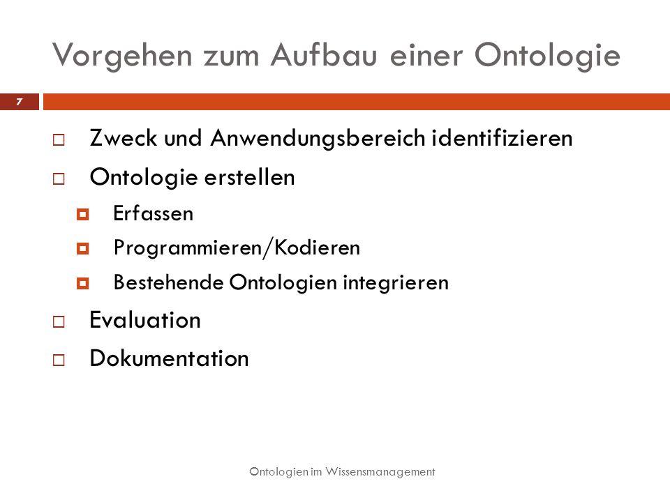 Vorgehen zum Aufbau einer Ontologie Zweck und Anwendungsbereich identifizieren Ontologie erstellen Erfassen Programmieren/Kodieren Bestehende Ontologien integrieren Evaluation Dokumentation 7 Ontologien im Wissensmanagement