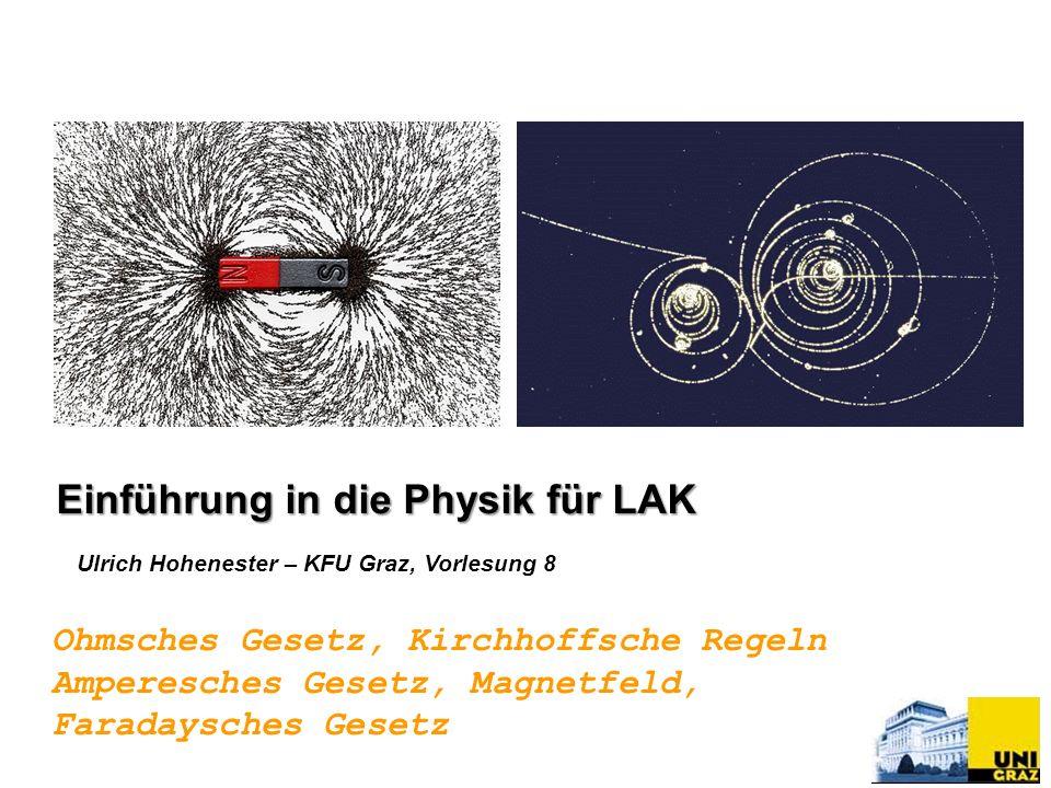 Ulrich Hohenester – KFU Graz, Vorlesung 8 Einführung in die Physik für LAK Ohmsches Gesetz, Kirchhoffsche Regeln Amperesches Gesetz, Magnetfeld, Faradaysches Gesetz