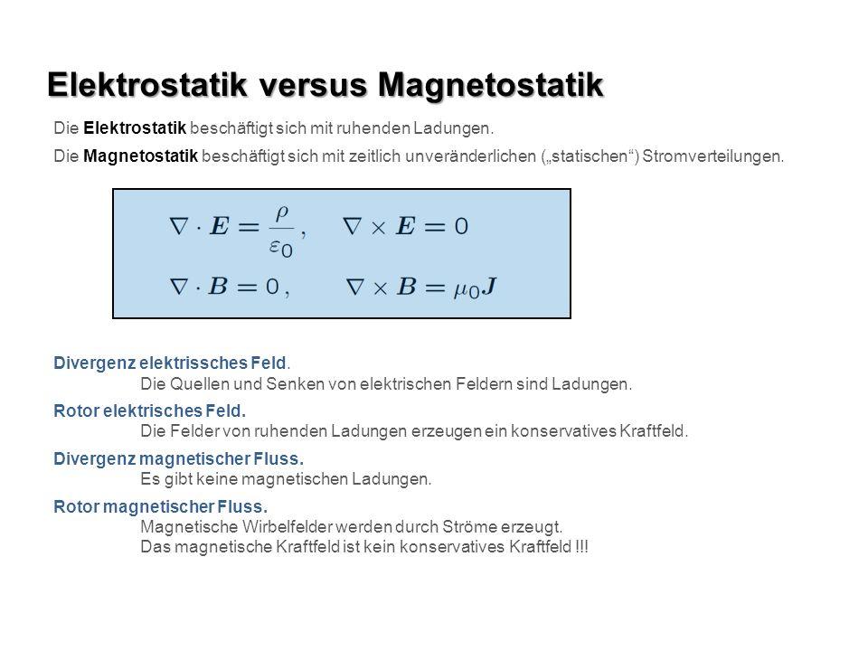 Elektrostatik versus Magnetostatik Die Elektrostatik beschäftigt sich mit ruhenden Ladungen.