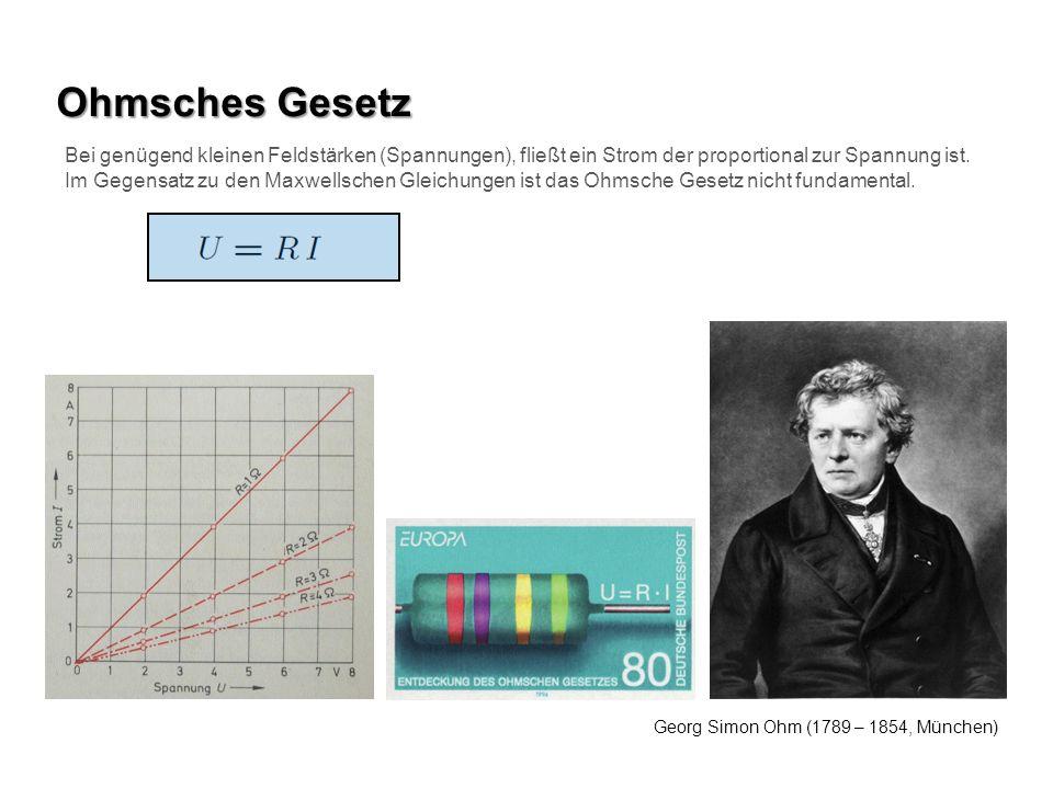 Ohmsches Gesetz Bei genügend kleinen Feldstärken (Spannungen), fließt ein Strom der proportional zur Spannung ist.