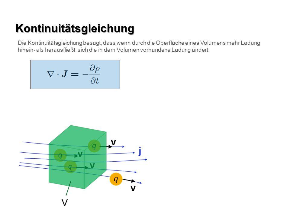 Kontinuitätsgleichung Die Kontinuitätsgleichung besagt, dass wenn durch die Oberfläche eines Volumens mehr Ladung hinein- als herausfließt, sich die in dem Volumen vorhandene Ladung ändert.
