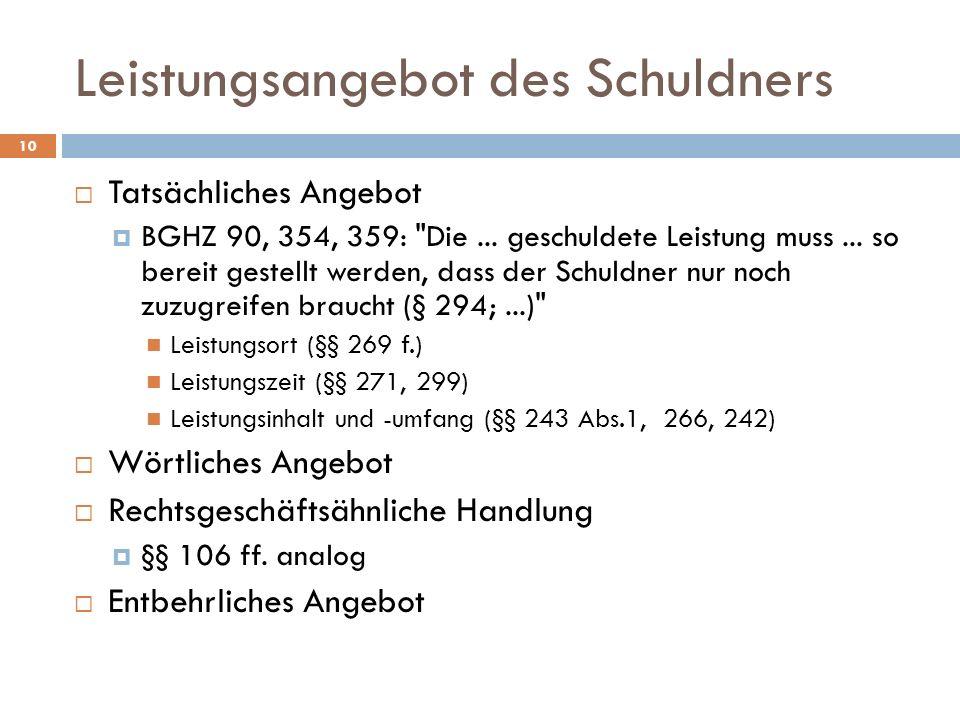 10 Tatsächliches Angebot BGHZ 90, 354, 359: